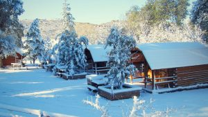 Ranch during a winter snow